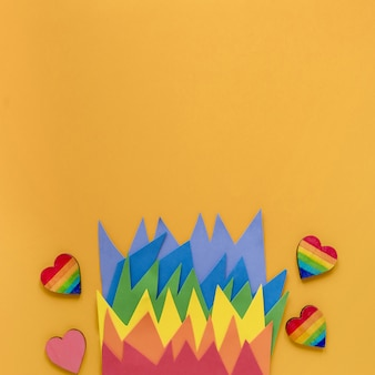 Copia-espacio origami arcoiris