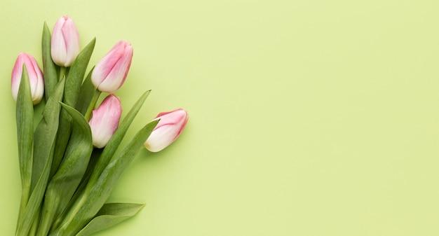 Copia espacio ramo de tulipanes