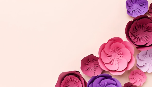 Copiar espacio adornos de papel floral