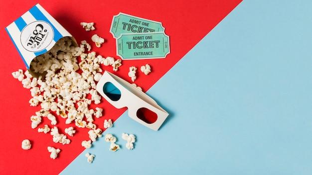Copiar espacio palomitas de maíz para cine