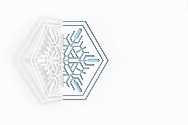 Copo de nieve de papel cortado y su contorno.