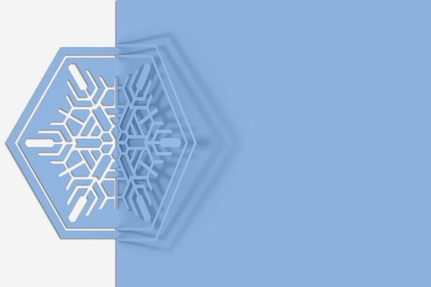 Copo de nieve de papel tallado doblado por la mitad, doblado, proyecta una hermosa ilustración de sombra 3d