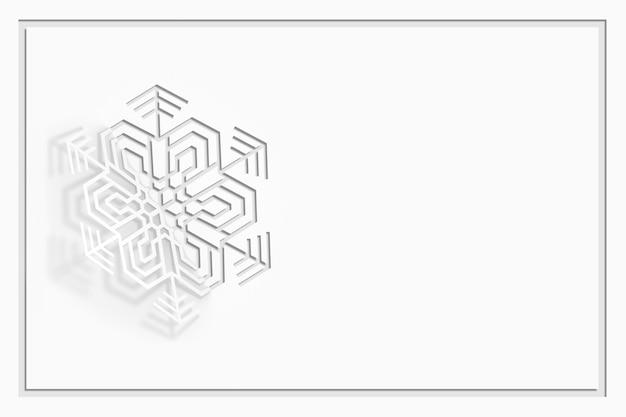 Copo de nieve de papel tallado doblado por la mitad, doblado, proyecta una hermosa sombra sobre una ilustración 3d de fondo blanco