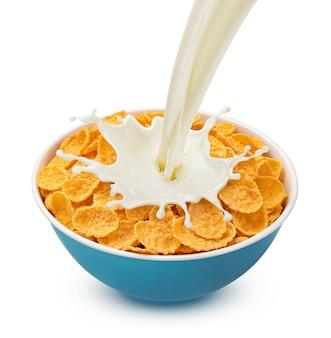 Copos de maíz con leche vertida aislado sobre fondo blanco.