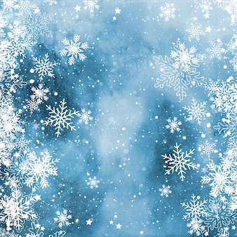 Copos de nieve de navidad en una textura de acuarela