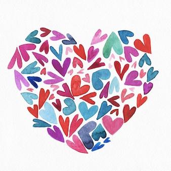 Corazón de acuarela pintada