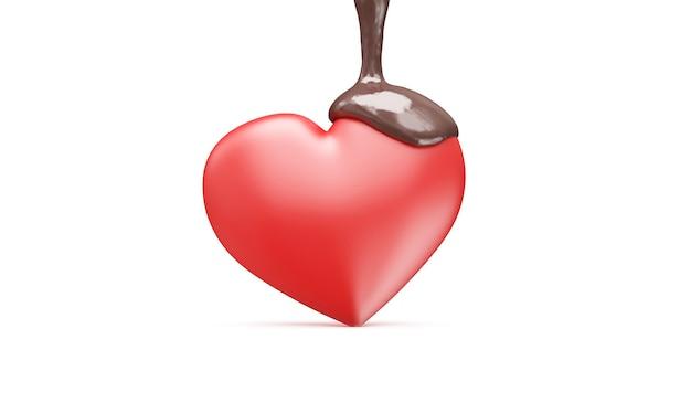 Corazón de amor derramado con chocolate con leche en blanco