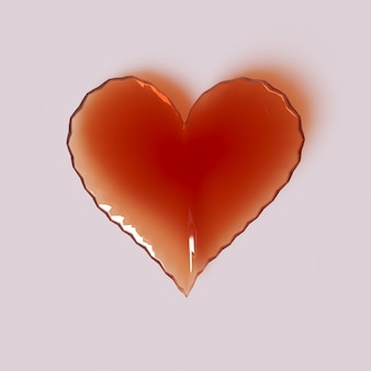 Corazón de cristal sobre un fondo rosa visualización 3d