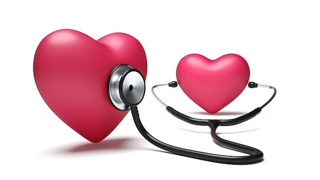 Corazón escuchando corazón con estetoscopio sobre fondo blanco.