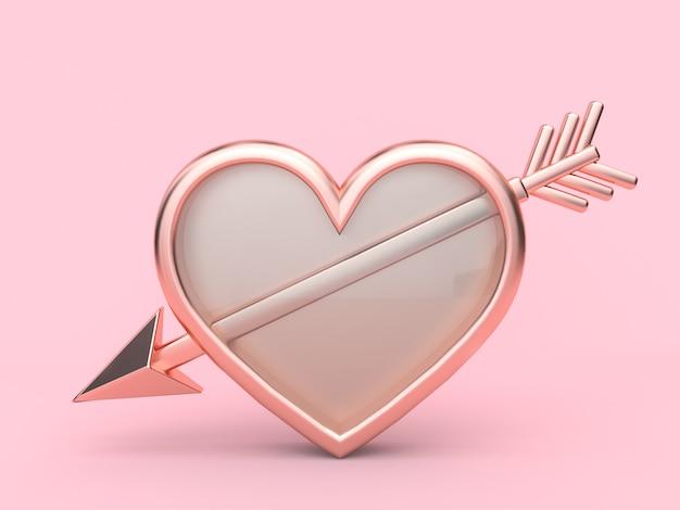 El corazón y la flecha aman concepto 3d de la representación de la tarjeta del día de san valentín fondo rosado