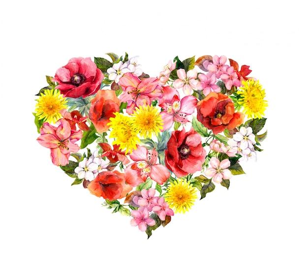 Corazón floral con amapolas rojas, flores de color rosa. acuarela para san valentín
