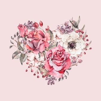 Corazón floral decorativo vintage acuarela de rosas rojas