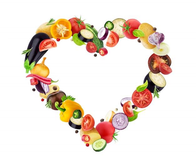 Corazón hecho de diferentes vegetales