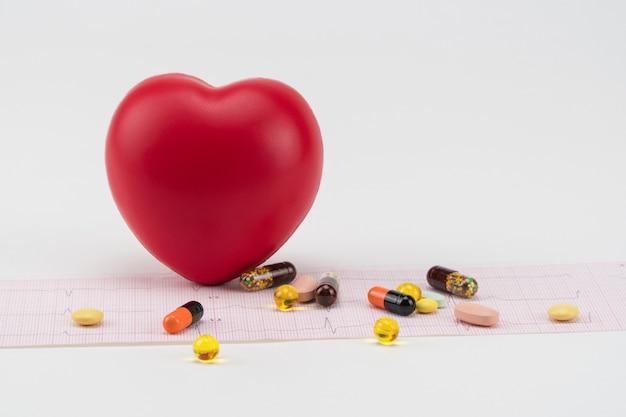 Corazón de juguete en cardiograma con pastillas. concepto de salud. cardiología: cuidado del corazón