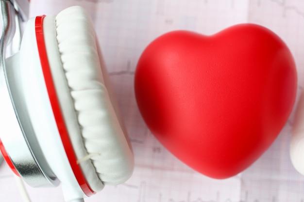 Corazón de juguete rojo un heaphones en papel cardiograma