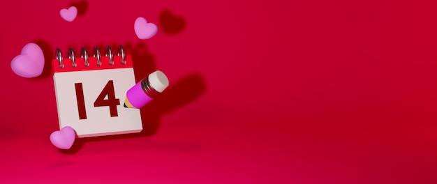 Corazón, lápiz, cuaderno sobre fondo rojo concepto de celebración para mujeres felices, papá mamá, dulce corazón,