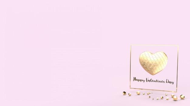 Corazón de oro y representación 3d de fram de oro para el contenido del día de san valentín.