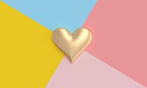 Corazón de oro sobre un fondo de sectores de diferentes colores en estilo plano.