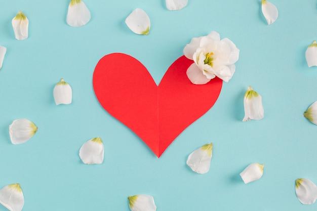 Corazón de papel y capullo de flor fresca
