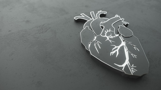 Corazón plano abstracto en el concepto de superficie de piedra.