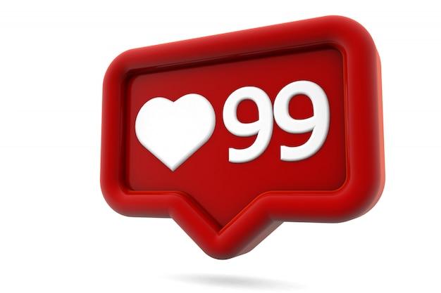 Corazón de redes sociales como icono aislado