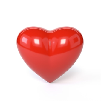 Corazón rojo aislado en el fondo blanco. el símbolo del romance, el día de san valentín. 3d ilustración