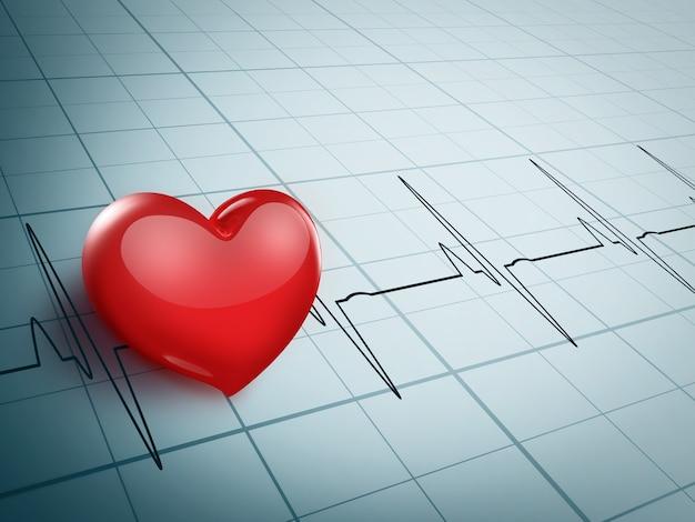 Corazón rojo brillante en un gráfico de electrocardiograma