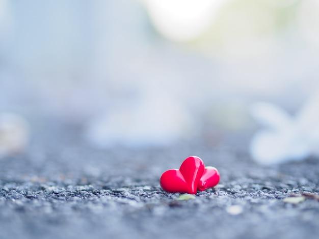 Corazón rojo y flor blanca en el camino.