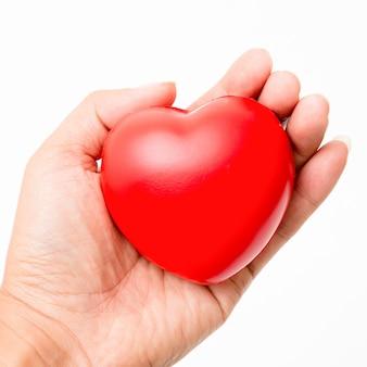 Corazón rojo en la mano. aislado en el fondo blanco iluminación de estudio.
