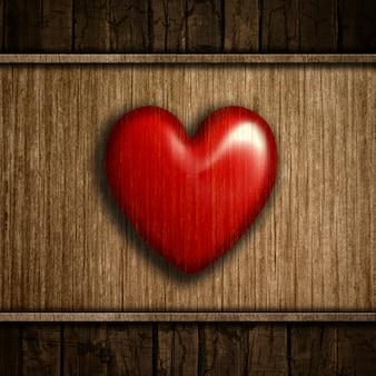 Corazón rojo sobre madera
