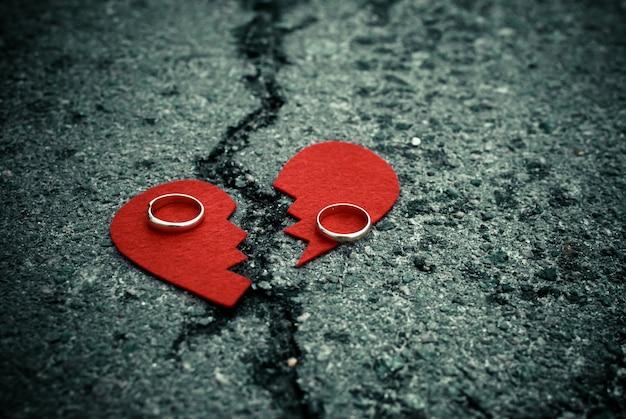 Corazón roto con anillos de boda en el asfalto agrietado