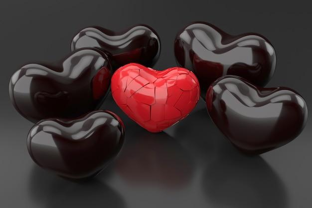 Corazón roto. representación 3d
