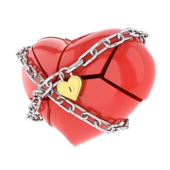 Corazón roto. representación 3d.