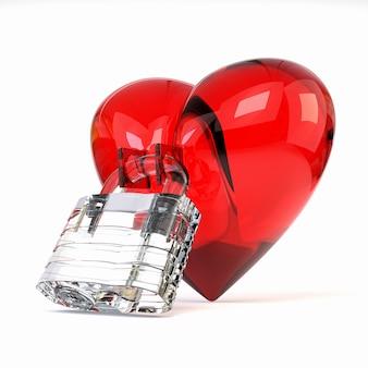 Corazón tridimensional rojo con el candado cristalino aislado en el fondo blanco.