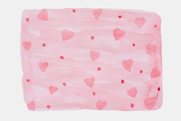 Corazones de acuarela en color rosa. corazones dibujados a mano para el día de san valentín.