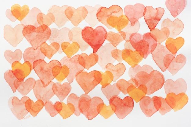 Corazones de acuarela. corazones dibujados a mano para el día de san valentín.