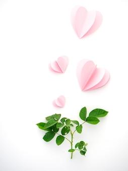 Corazones de papel rosa amor creativo