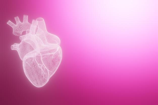 Los corazones del wireframe 3d rinden aislado