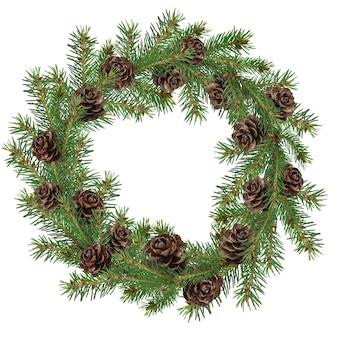 Corona de abeto navideño con conos