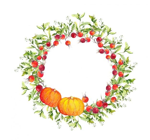 Corona de acción de gracias - calabazas, bayas, hojas de otoño. borde redondo acuarela