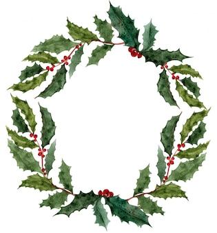 Corona de acuarela de navidad con ramas de árboles de acebo