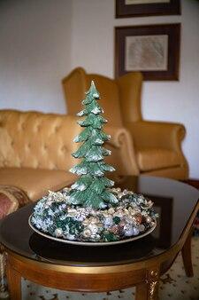 Corona de adviento con velas, mesa de arreglo hecho a mano mini decoración para año nuevo, decoración de interiores de árbol de navidad artificial