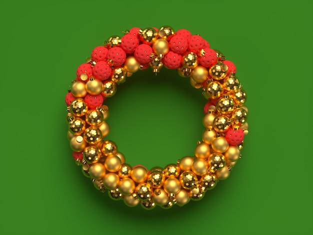 Corona de navidad 3d con elementos decorativos. feliz navidad y próspero año nuevo. ilustración de renderizado 3d.