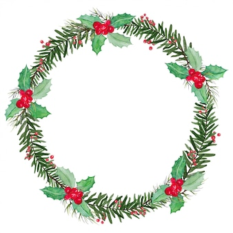 Corona de navidad de muérdago y bayas