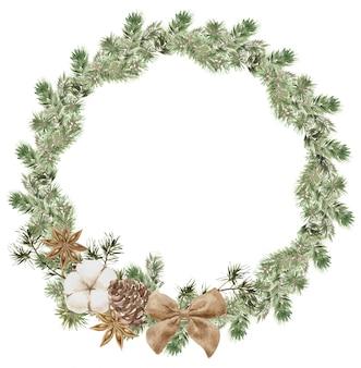 Corona de navidad con ramas de pino y abeto