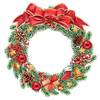 Corona de navidad sobre fondo blanco.