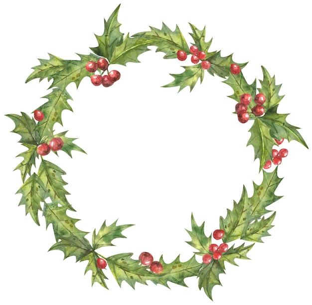 Corona navideña de hojas y frutos rojos dibujados a mano.