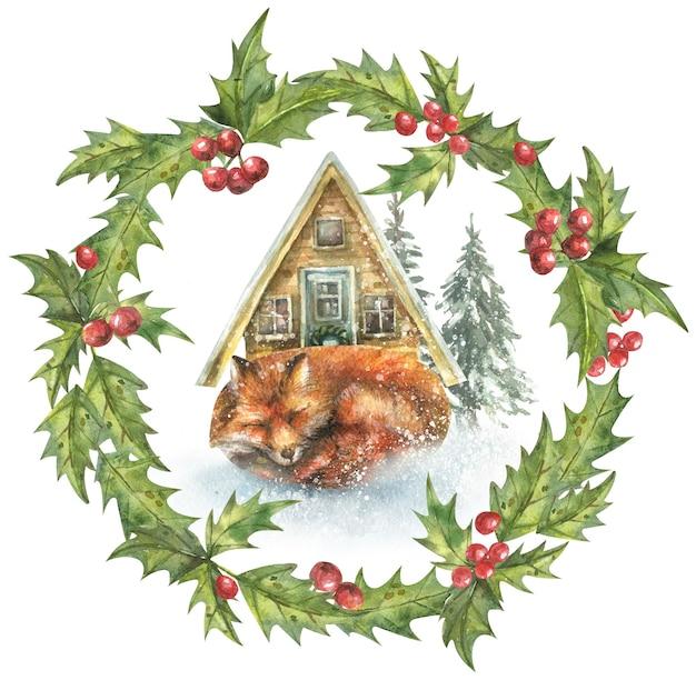 Corona navideña de hojas y frutos rojos y un lindo zorro dormido y árboles de nieve dibujados a mano