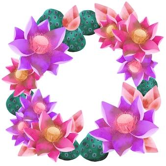 Corona de ramo redondo de flor de loto