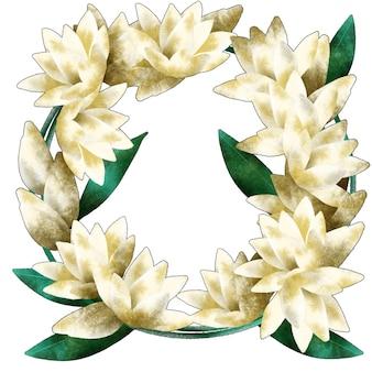 Corona de ramo redondo de flor tuberosa
